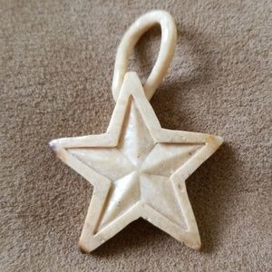 Hand Carved Bone 5 Pointed Star Pendant